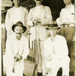 'Volunteering for active service' Sailing from Darwin to Townsville on SS Alderham to enlist in the First World War. Five of the first fifteen Territorians who volunteered for active service. Standing L-R : Lieutenant Albert Borella (Bert) 275 26th Infantry Battalion VC MM ; Lieutenant Robert Dingwall Buttercase (Bob Butters) 1376 41st Battery KIA 05 April 1918 ; Private James Park, 658 (also 53A) 13th Light Horse, 1st reinforcements ; Private James Lawrence Cain (Jimmie Cain) 2060 9th Battalion, 5th Reinforcement KIA 20 April 1916 ; Private Frank Thomson 2057 9th Battalion, 5th Reinforcement. (NT Libraries, Darwin 1914-1916 Collection)