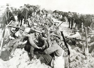 Australian Light Horse members at rest