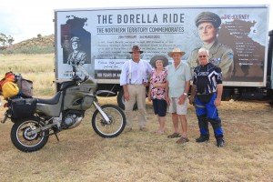 Richard, Mary and Rowan Borella with motorcyclist, John Wheeler