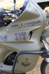 John Wheeler's motorcycle which carries the military medals awarded to his grandfather.