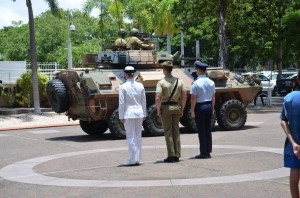 The convoy is met by Australian Defence Force personnel.
