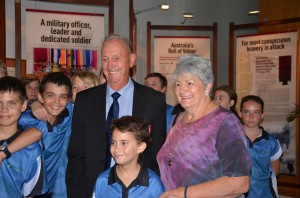 Rowan and Mary Borella with students from Rosebery Primary School.