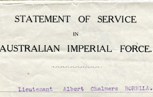 1919: Borella discharged from service in WWI
