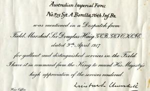 1917: Borella Mentioned in a Despatch