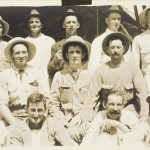 'Volunteers' - The 1st and 2nd contingent of Northern Territory volunteers for the front. Albert Borella second from the left, back row; Bob Butters second from the right front row. (NT Libraries, Darwin 1914-1916 Collection)