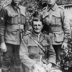 Albert Borella (centre) after his return to Australia in 1919, with his half-brothers James (on left) and Charles (right). (Source Unknown)
