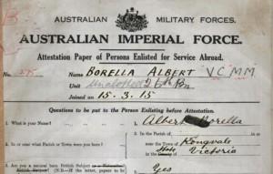 1915: Borella enlists in World War I