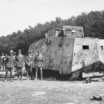 The A7V Sturmpanzerwagen known as Mephisto was immobilised in an area close to Villers-Bretonneux called Monument Wood. A few months later, a detachment of soldiers from the 26th Battalion, mainly comprised of Queenslanders, helped recover the abandoned tank and drag it back to the Allied lines.   The German 30 ton machine was sent to Australia as a war trophy, arriving at Norman Wharf in June 1919 where it was towed by two Brisbane City Council steamrollers to the Queensland Museum, then located in Fortitude Valley. It remains the sole surviving A7V tank in the world. (Australian War Memorial)
