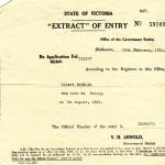 An extract of Albert Borella's birth records. (Borella Collection)